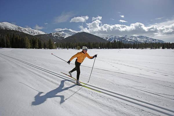 Ski Tracks Wall Art - Photograph - Usa, Sun Valley, Idaho, Mature Man by Karl Weatherly