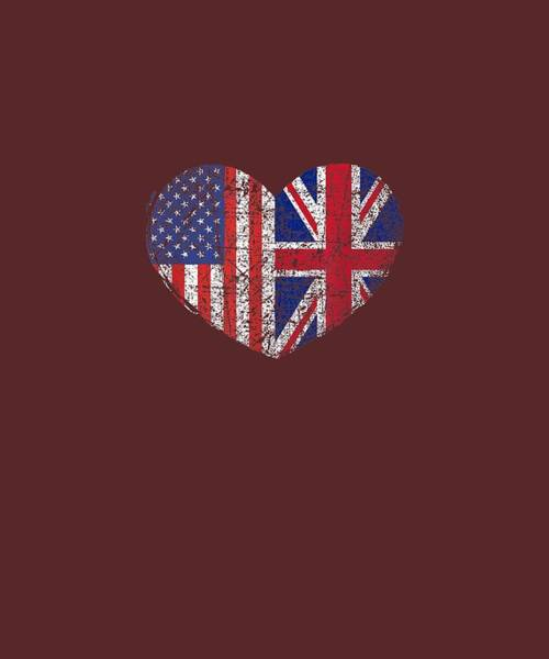 Wall Art - Digital Art - Usa United Kingdom Heart - Dual Citizenship T-shirt by Unique Tees