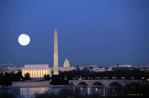 Night Photograph - Usa, Washington Dc Skyline, Night With by James P. Blair