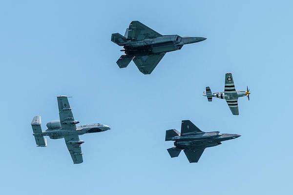 Wall Art - Photograph - Usaf Heritage Flight Formation by Randy Scherkenbach