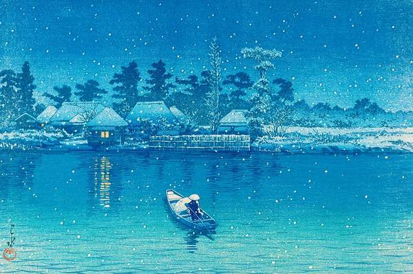 Snowscape Painting - Ushibori - Top Quality Image Edition by Kawase Hasui