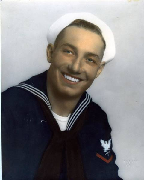 Painting - Usn Hand Tinted Navy Sailor Portrait Uniform Tropical 40's Ww2 by Celestial Images