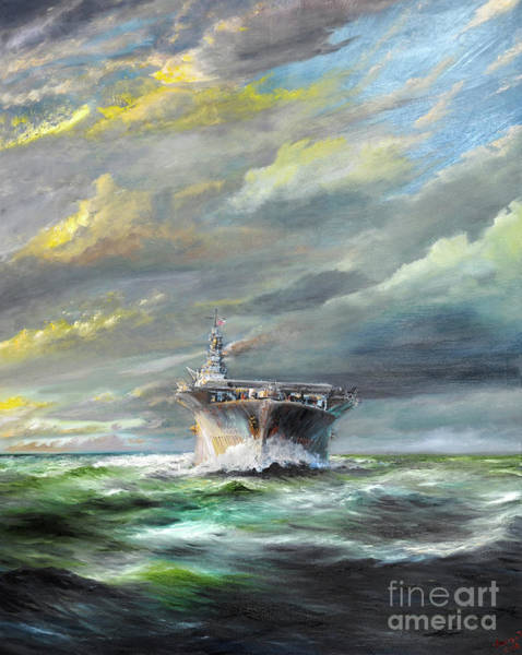 Wall Art - Painting - Uss Enterprise Returns To Pearl by Vincent Alexander Booth