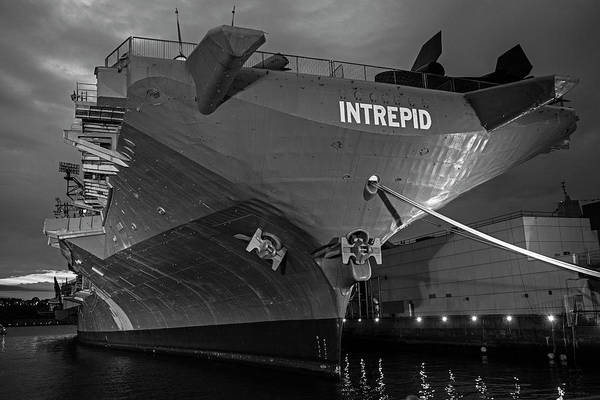 Photograph - Uss Intrepid New York Ny Battleship Dramatic Sky New York City Black And White by Toby McGuire