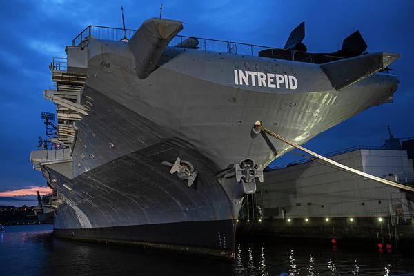 Photograph - Uss Intrepid New York Ny Battleship Dramatic Sky New York City by Toby McGuire