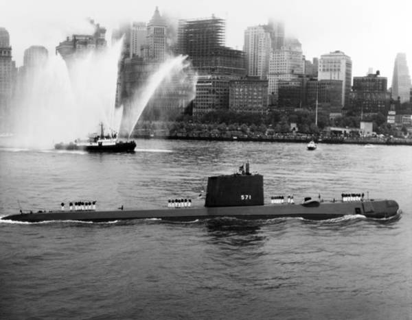 Wall Art - Photograph - Uss Nautilus Anchored In New York Harbor - 1958 by War Is Hell Store