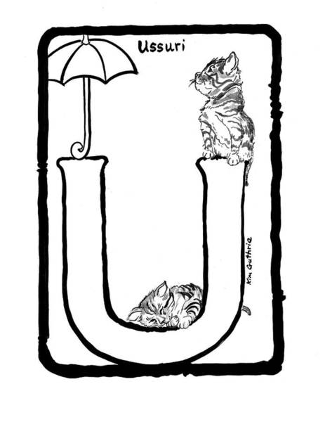 Wall Art - Painting - Ussuri Cat Black And White Drawing For Coloring Book by Kim Guthrie
