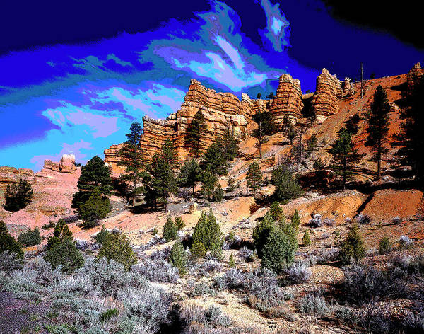 Zion Mixed Media - Utah's Red Canyon by Charles Shoup