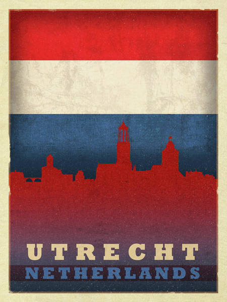 Wall Art - Mixed Media - Utrecht Netherlands City Skyline Flag by Design Turnpike