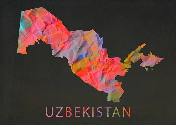 Wall Art - Mixed Media - Uzbekistan Tie Dye Country Map by Design Turnpike