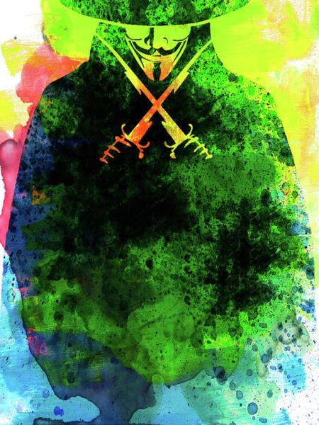 Watercolor Mixed Media - V For Vendetta Watercolor II by Naxart Studio