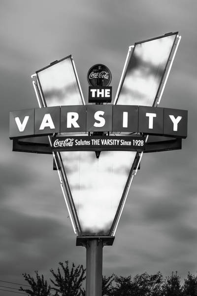 Photograph - V Is For Varsity - Atlanta Georgia Monochrome by Gregory Ballos