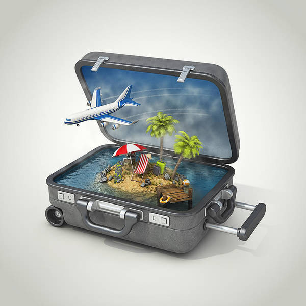 Vacation Island In Suitcase Art Print by Pagadesign