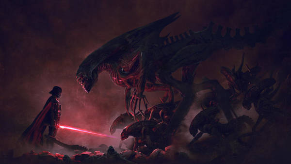 Sith Digital Art - Vader Vs Aliens 1 by Guillem H Pongiluppi