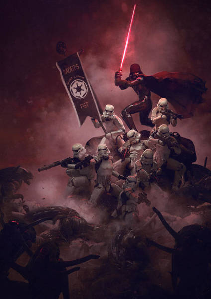 Sith Digital Art - Vader Vs Aliens 2 by Guillem H Pongiluppi