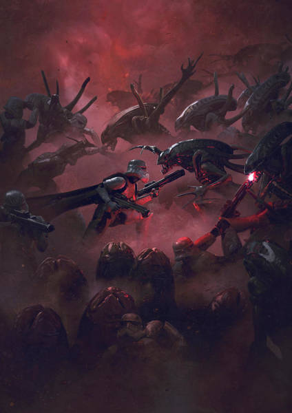 Sith Digital Art - Vader Vs Aliens 5 by Guillem H Pongiluppi