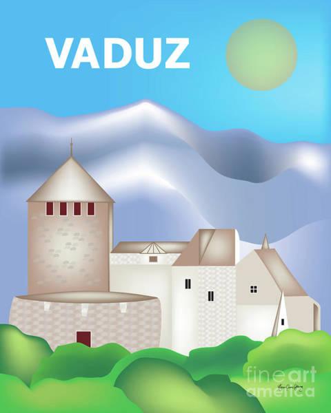 Liechtenstein Digital Art - Vaduz, Lichtenstein, Vertical Skyline by Karen Young