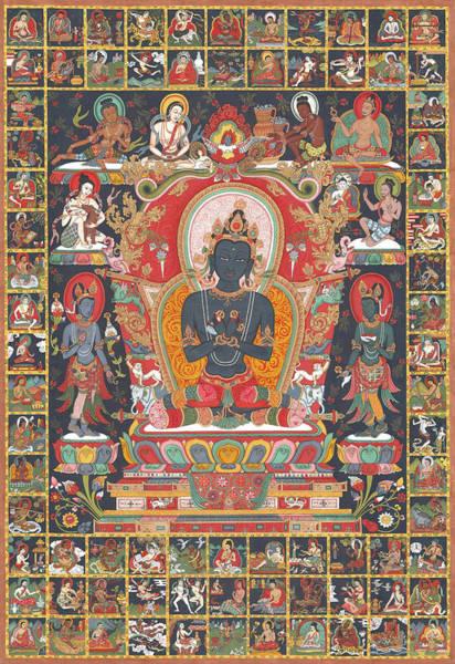Thangka Painting - Vajradhara And The 84 Mahasiddhas by Bella Wilshire
