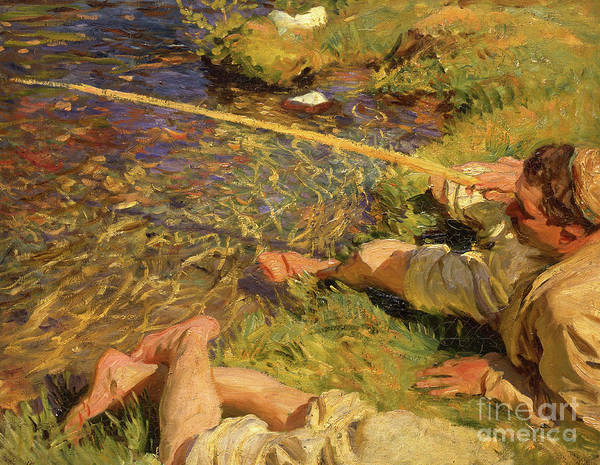 Wall Art - Painting - Val Daosta A Man Fishing, Circa 1907 Oil On Canvas by John Singer Sargent
