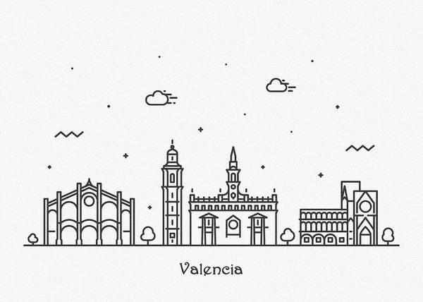 Drawing - Valencia Cityscape Travel Poster by Inspirowl Design
