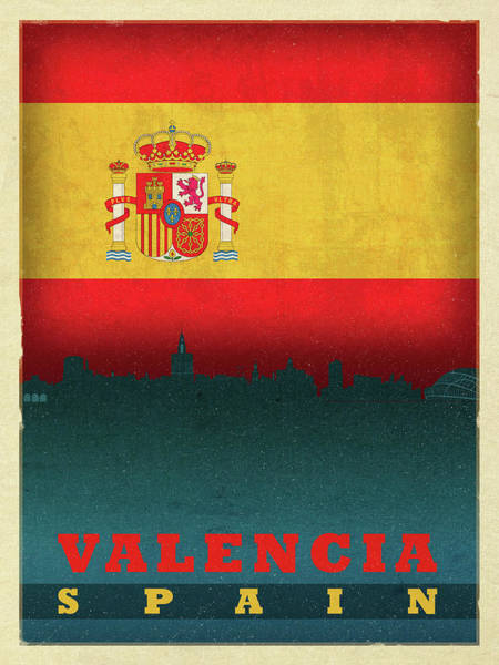 Wall Art - Mixed Media - Valencia Spain City Skyline Flag by Design Turnpike