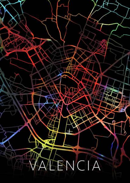 Wall Art - Mixed Media - Valencia Spain Watercolor City Street Map Dark Mode by Design Turnpike