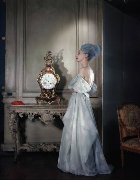 Blue Gown Photograph - Valentina Wearing A Dress Of Her Own Design by Horst P. Horst
