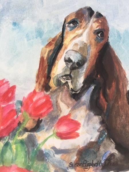 Wall Art - Painting - Valentine Basset by Susan Elizabeth Jones