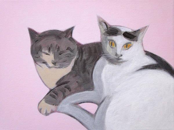 Painting - Valentine Cats by Kazumi Whitemoon