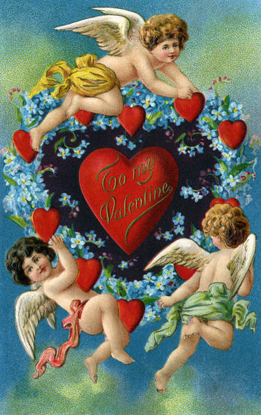 Wall Art - Digital Art - Valentine Cherubs And Hearts by Graphicaartis