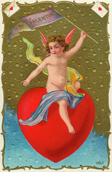 Semis Digital Art - Valentine Cupid On A Heart by Graphicaartis