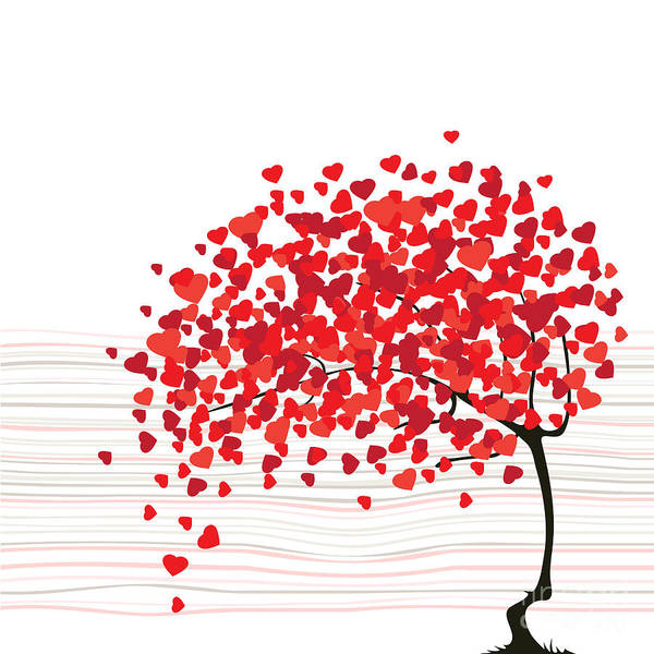 Red Heart Digital Art - Valentines Day Abstract With Dandelion by Lupulluss