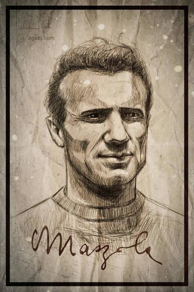 Italian Football Wall Art - Digital Art - Valentino Mazzola by Andrea Gatti