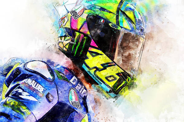 Painting - Valentino Rossi - 16 by Andrea Mazzocchetti