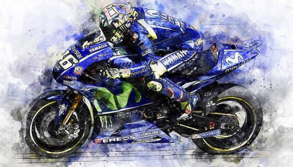 Painting - Valentino Rossi - 17 by Andrea Mazzocchetti