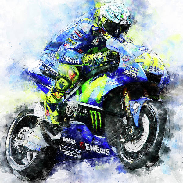 Painting - Valentino Rossi - 18 by Andrea Mazzocchetti