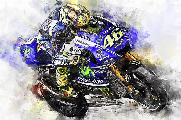 Painting - Valentino Rossi - 19 by Andrea Mazzocchetti