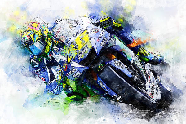 Painting - Valentino Rossi - 20 by Andrea Mazzocchetti