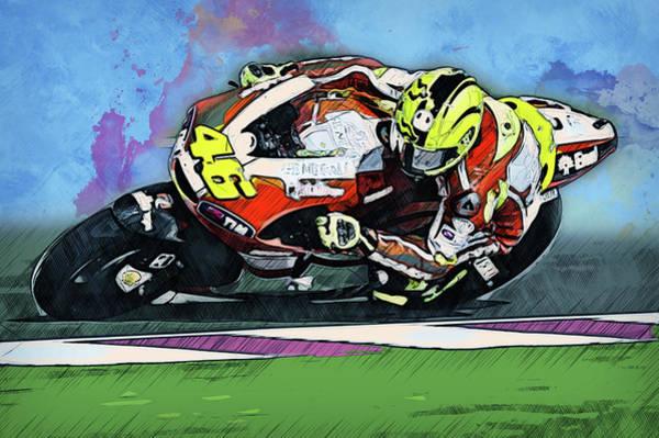 Painting - Valentino Rossi - 21 by Andrea Mazzocchetti