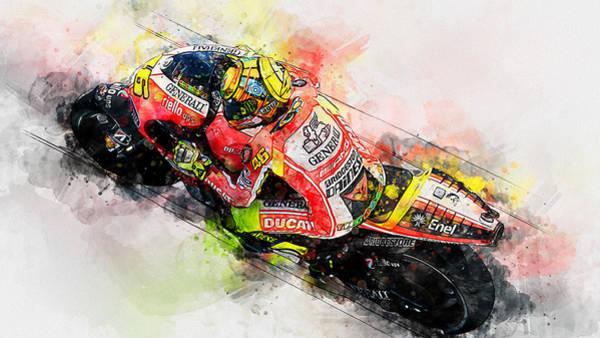 Painting - Valentino Rossi - 22 by Andrea Mazzocchetti