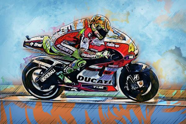 Painting - Valentino Rossi - 23 by Andrea Mazzocchetti