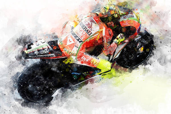Painting - Valentino Rossi - 24 by Andrea Mazzocchetti