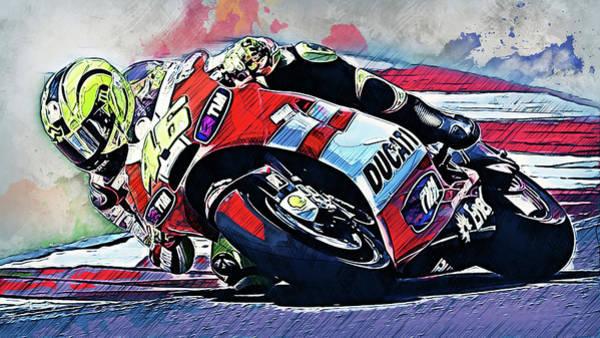 Painting - Valentino Rossi - 25 by Andrea Mazzocchetti