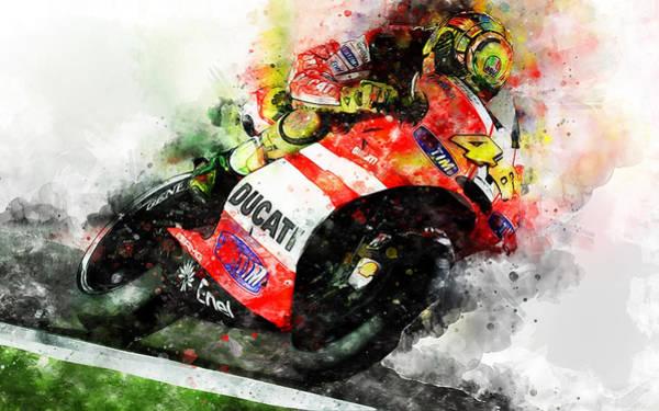 Painting - Valentino Rossi - 26 by Andrea Mazzocchetti