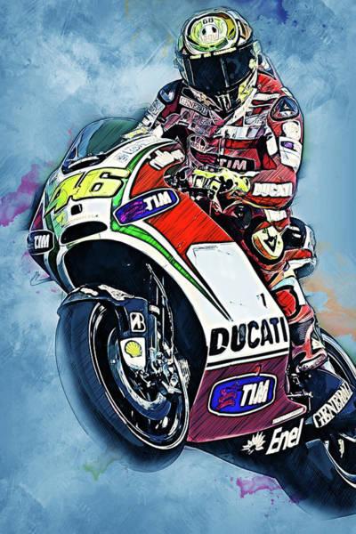 Painting - Valentino Rossi - 27 by Andrea Mazzocchetti