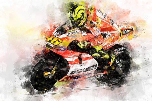 Painting - Valentino Rossi - 28 by Andrea Mazzocchetti