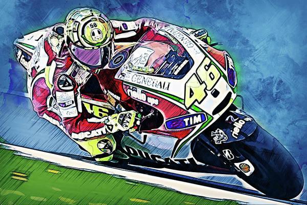 Painting - Valentino Rossi - 29 by Andrea Mazzocchetti