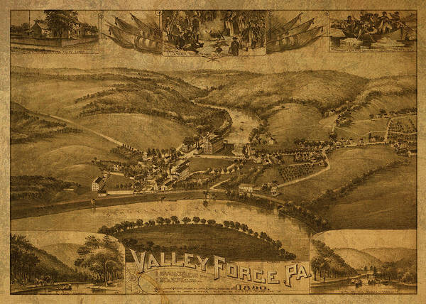 Forge Wall Art - Mixed Media - Valley Forge Pennsylvania Vintage City Street Map 1890 by Design Turnpike