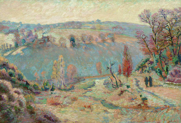 Wall Art - Painting - Valley Of The Sedelle At Pont Charraud, White Frost, 1911 by Armand Guillaumin