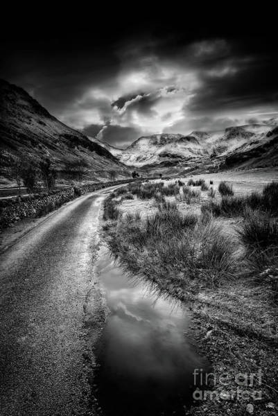 Wall Art - Photograph - Valley Sunset Snowdonia Bw by Adrian Evans